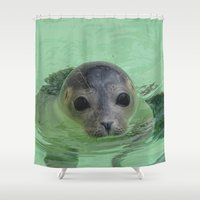 seal Shower Curtains featuring Sweet Seal by MehrFarbeimLeben