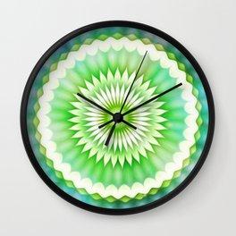 Fireworks Flower Kaleidoscope Green Wall Clock