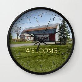 Barn & Geese - Welcome Wall Clock