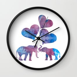 Elephants art Wall Clock