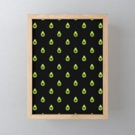 Avocado Hearts (black background) Framed Mini Art Print