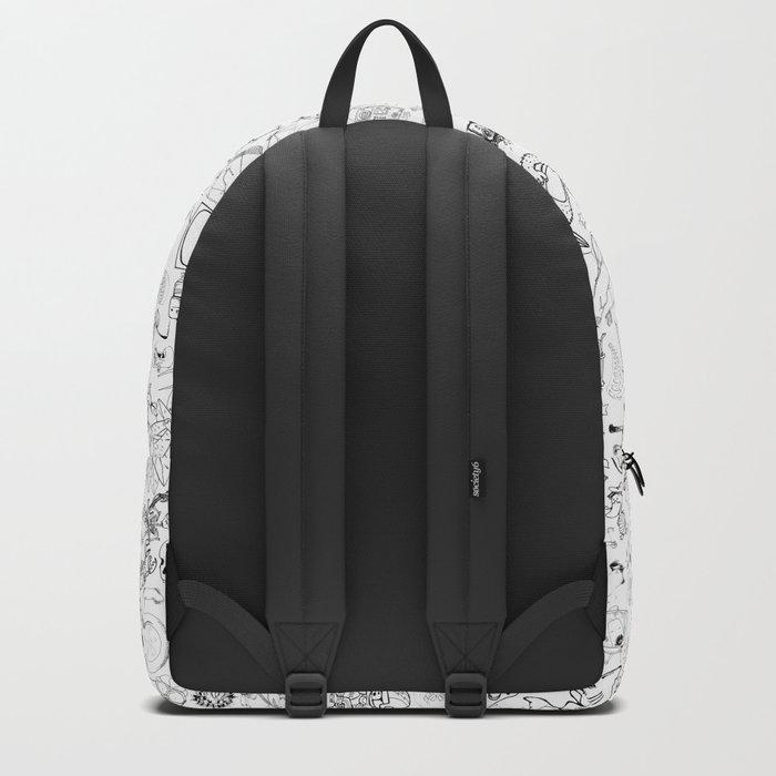 Doodle Skull BW Backpack
