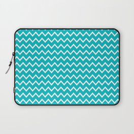 Teal Turquoise Blue Chevron Zigzag Pattern Laptop Sleeve