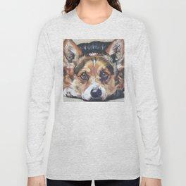 Pembroke Welsh Corgi dog art portrait from an original painting by L.A.Shepard Long Sleeve T-shirt