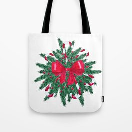 Christmas Bouquet fir branches red bow Tote Bag