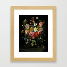 """Jan van Kessel de Oude """"Tulips, peonies, chicory, carnations, cherry blossom and other flowers"""" Framed Art Print"""