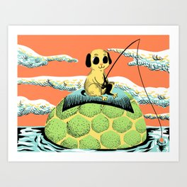 Dog Fisher Art Print