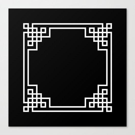 Black White Lattice Canvas Print