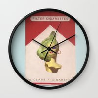 cigarette Wall Clocks featuring Cigarette Barbie by Hayleydonovan