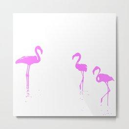 We Are The Three Flamingos Silhouette In Pink Metal Print
