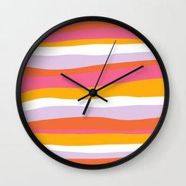 cali beach stripes Wall Clock