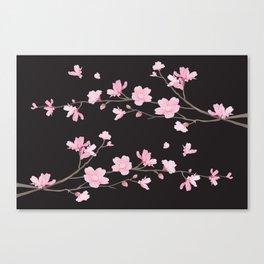 Cherry Blossom - Black Canvas Print