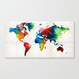 World Map 19 - Colorful Art By Sharon Cumming Canvas Print
