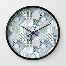 The bright blue patchwork Wall Clock