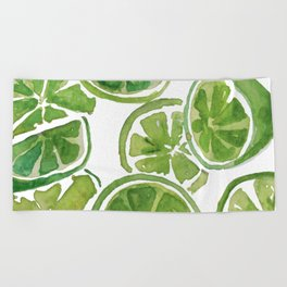 Watercolor LIMES Beach Towel