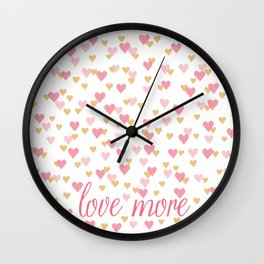 love more heart confetti Wall Clock
