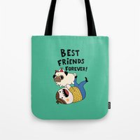 pug Tote Bags featuring PUG by Jarvis Glasses