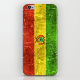 Vintage Aged and Scratched Bolivian Flag iPhone Skin