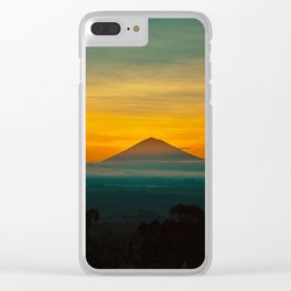 Mountain Volcano In The Distant Green Yellow Orange Sunset Hues Landscape Photography Clear iPhone Case