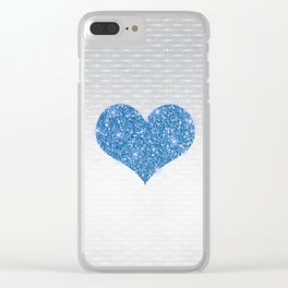 Faux Blue Glitter Heart on Metallic Silver Clear iPhone Case