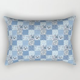 Blue Floral Patchwork Rectangular Pillow