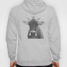 Cow black and white animal portrait Hoody