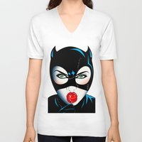 catwoman V-neck T-shirts featuring Catwoman by mark ashkenazi