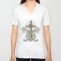 christ V-neck T-shirts featuring Jesus Christ by biblebox