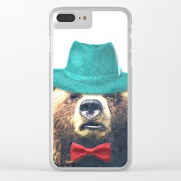 Funny Bear Illustration Clear iPhone Case