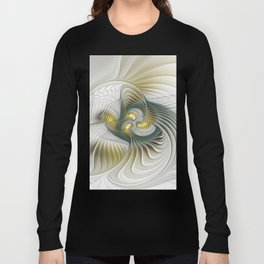 Noble And Golden, Abstract Modern Fractal Art Long Sleeve T-shirt