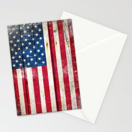 Vintage American Flag On Old Barn Wood Stationery Cards