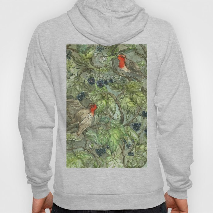 Robins in Blackberry Bush Hoody