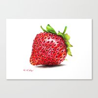 strawberry Canvas Prints featuring Strawberry by CipiArt