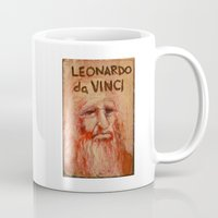 da vinci Mugs featuring 50 Artists: Leonardo da Vinci by Chad Beroth