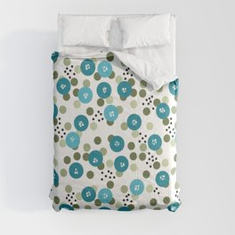 Polka dot Blue green white circles round shapes geometrical Comforters
