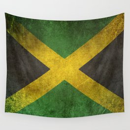 Old and Worn Distressed Vintage Flag of Jamaica Wall Tapestry