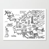 new york map Canvas Prints featuring New York City Map by Claire Lordon