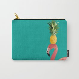 Flamingo Vibes |Tropical Pink Bird Pineapple on Head| Renee Davis Carry-All Pouch