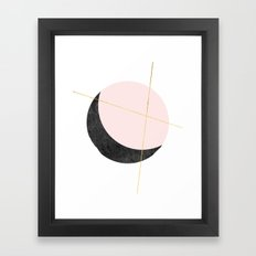 Pink Moon, Contemplation, Full Moon, Faux Gold Lines, Pink Black White Framed Art Print