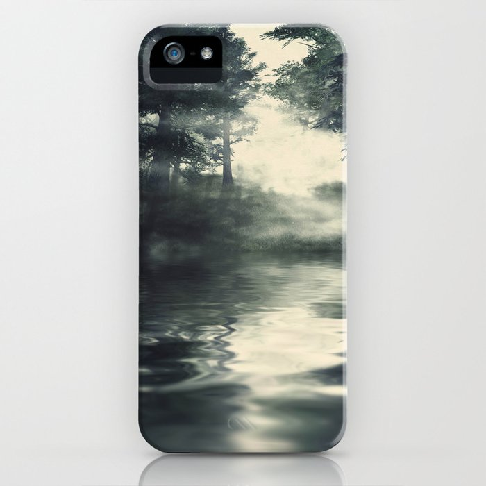 Misty pine forest iPhone Case