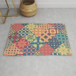 Leiden vintage cheater quilt colorful geometric design Rug