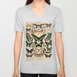Papillon II Vintage French Butterfly Chart by Adolphe Millot Unisex V-Neck