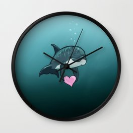 """Love Ya"" by Amber Marine ~ Toon Baby Dolphin Art, (Copyright 2014) Wall Clock"