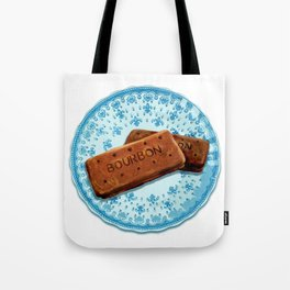 Bourbon biscuits on a plate for tea time Tote Bag