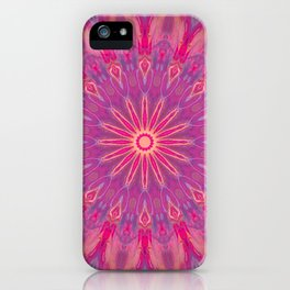 Bright Pink Purple Mandala Design iPhone Case