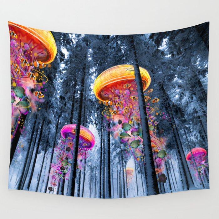Winter Forest of Electric Jellyfish Worlds Wall Tapestry