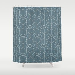 Contemporary Bowed Symmetry in Teal Shower Curtain
