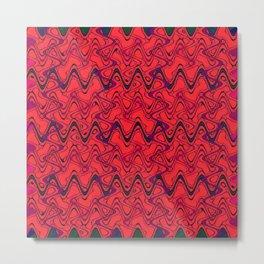 Red Black Geometric Waves Abstract Pattern Metal Print