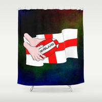 rugby Shower Curtains featuring England Rugby Flag by mailboxdisco