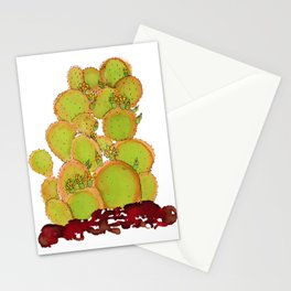 Cactus doodle 6 - alcohol ink Stationery Cards